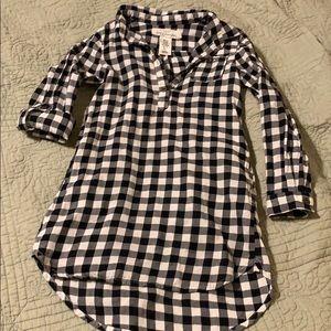 Black and white plaid shirt dress.